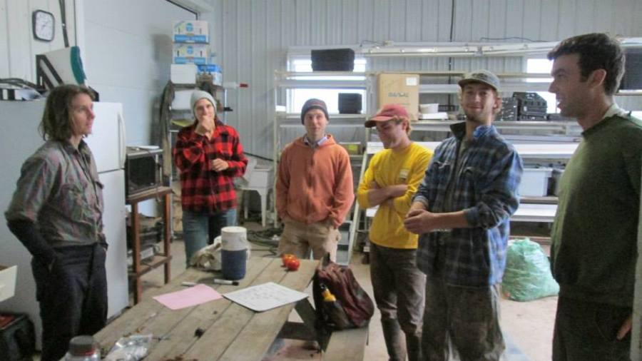 Week 33 - Morning Meeting with Ruth, Amanda, Xander, Peter, Jeremie and Kent (photo by Emilie)